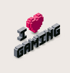 3d gaming pixel icon vector image