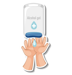 A sticker template with hands using alcohol gel vector