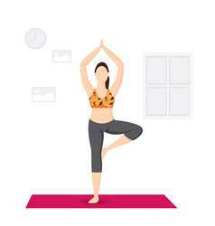 A young woman practicing yoga vector