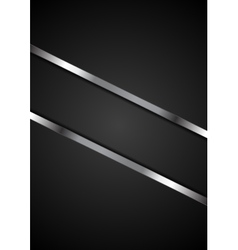 Abstract black background with metallic stripes vector
