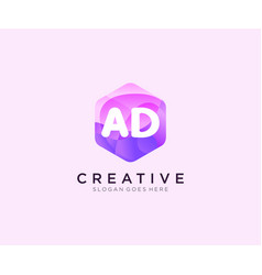 Ad initial logo with colorful hexagon modern vector