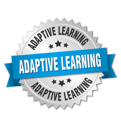 adaptive learning round isolated silver badge vector image