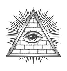 all seeing eye pyramid masonic symbol vector image