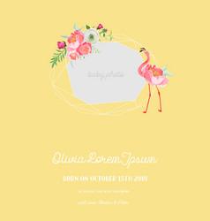Baby arrival announcement flamingo photo frame vector