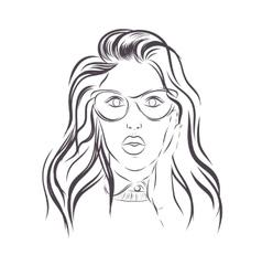 Beautiful fashion woman portrait on background vector