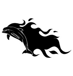 black silhouette dolphin jump with flames vector image