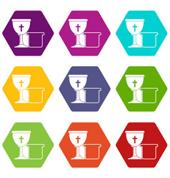 bowl and bread icon set color hexahedron vector image