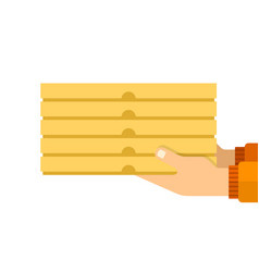 boxes pizza in hands a courier flat vector image
