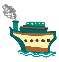 brown and blue steam boat ship or color vector image