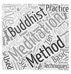 Buddhist meditation techniques Word Cloud Concept vector