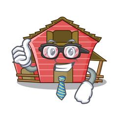 Businessman a red barn house character cartoon vector