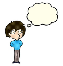 Cartoon impressed boy with thought bubble vector