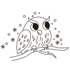 cartoon owl sitting on branch vector image