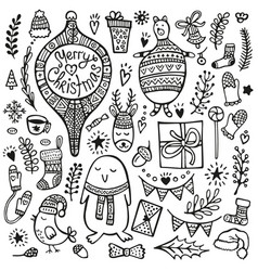 christmas doodle set cute hand drawn elements bear vector image