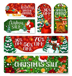 christmas sale shop dicount tags vector image