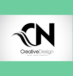 Cn c n creative brush black letters design with vector