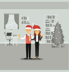 couple in formal clothes celebrating christmas vector image