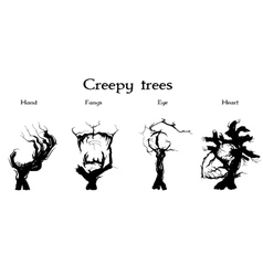 Creepy trees set vector