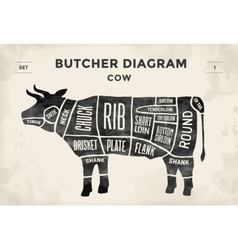 Cut of meat set Poster Butcher diagram and scheme vector image
