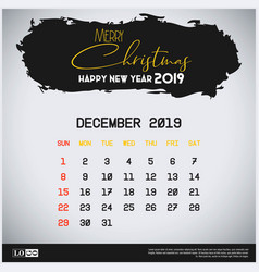 december 2019 new year calendar template brush vector image