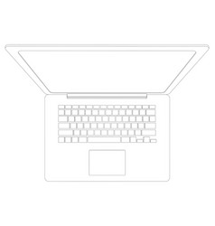 drawing of wire-frame open laptop vector image