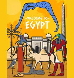 Egypt travel poster egyptian pyramid landmarks vector