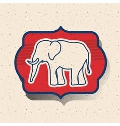 Elephant of vote inside frame design vector image