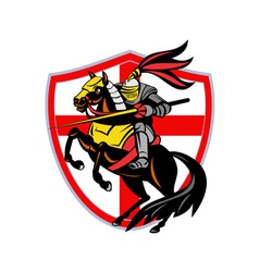English Knight Lance England Flag Shield Retro vector