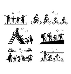 Family outdoor recreational activities stick vector