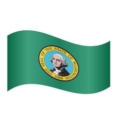 flag of washington state waving white background vector image
