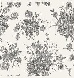 Floral seamless pattern black and white vector