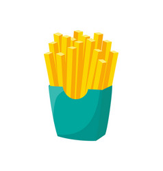 french fries in cardboard box isolated on white vector image