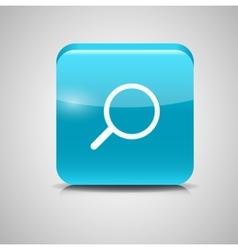 Glass search button icon vector
