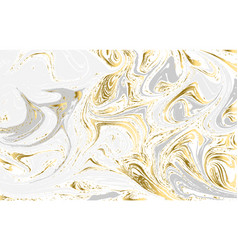 Gold and gray marbled texture watercolor hand vector