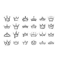 hand drawn doodle crowns king crown sketches vector image
