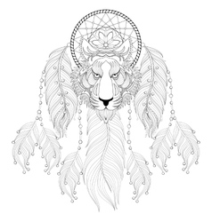 Hand drawn zentangle Dreamcatcher with tribal vector image