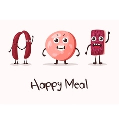 Happy cartoon meat character with hands vector