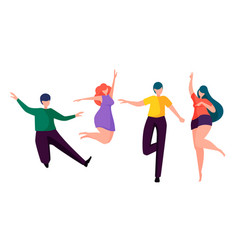 happy people dancing faceless cartoon characters vector image