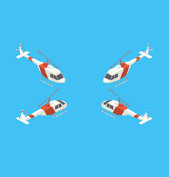 Helicopter four views isometric vector