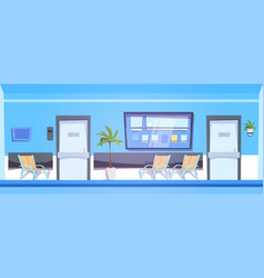 Hospital waiting room with empty seats interior vector