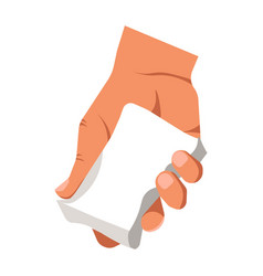 human hand holding white duster for cleaning or vector image