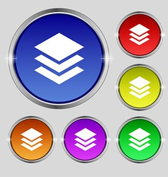 Layers icon sign round symbol on bright colourful vector