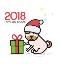 little puppy sitting beside his gift-box isolated vector image