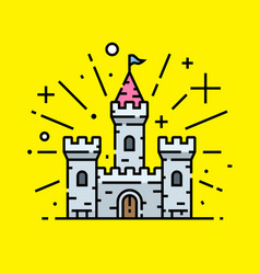 magical stone castle line icon vector image