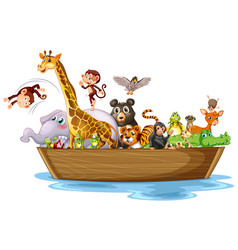 Many animals on wooden boat vector