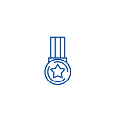 medal star line icon concept medal vector image