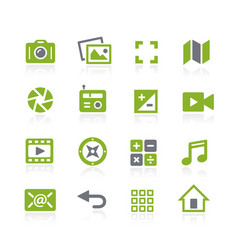 Media interface icons natura series vector