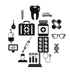 medicine icons set simple style vector image