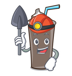 Miner ice chocolate mascot cartoon vector