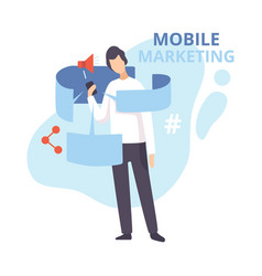 mobile marketing internet advertising promotion vector image